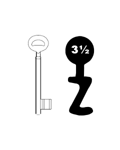 Buntbartschlüssel Bever & Klophaus System H Nr. 3 1/2