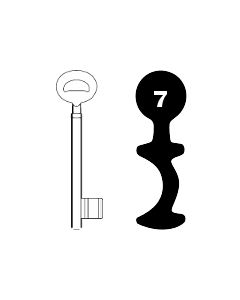 Buntbartschlüssel Bever & Klophaus System H Nr. 7 (Abbildung von der Ringseite aus gesehen)