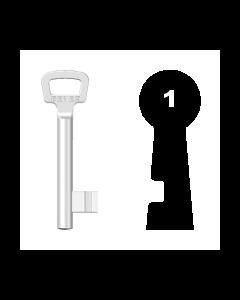 Nutbartschlüssel Bever & Klophaus Nr. 1N (Abbildung von der Ringseite aus gesehen)