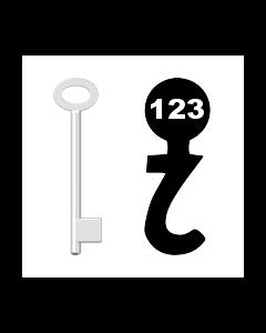 Buntbartschlüssel für Kastenschloss Nr. 123 (Abbildung von der Ringseite aus gesehen)