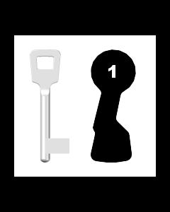 Buntbartschlüssel ABUS ES BB Nr. 1 (Abbildung von der Ringseite aus gesehen)