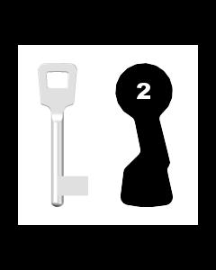 Buntbartschlüssel ABUS ES BB Nr. 2 (Abbildung von der Ringseite aus gesehen)