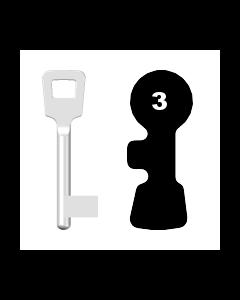 Buntbartschlüssel ABUS ES BB Nr. 3 (Abbildung von der Ringseite aus gesehen)