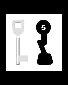 Buntbartschlüssel ABUS ES BB Nr. 5 (Abbildung von der Ringseite aus gesehen)