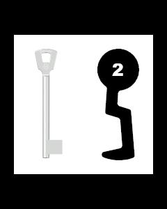 Buntbartschlüssel Bever H Nr. 2 (Abbildung von der Ringseite aus gesehen)