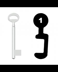 Buntbartschlüssel Bever & Klophaus System H Nr. 1 (Abbildung von der Ringseite aus gesehen)