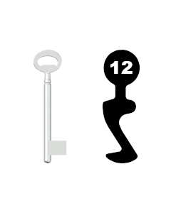 Buntbartschlüssel Bever & Klophaus System H Nr. 12 (Abbildung von der Ringseite aus gesehen)