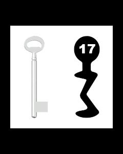 Buntbartschlüssel Bever & Klophaus System H Nr. 17 (Abbildung von der Ringseite aus gesehen)