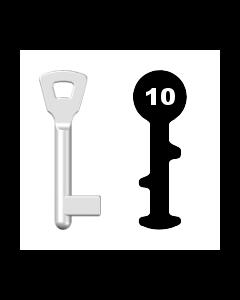 Buntbartschlüssel Bever & Klophaus M0 (Abbildung von der Ringseite aus gesehen)