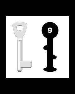 Buntbartschlüssel Bever & Klophaus M9 (Abbildung von der Ringseite aus gesehen)