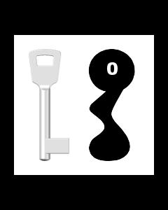 Buntbartschlüssel 8N (BKS) Nr. 0 (Abbildung von der Ringseite aus gesehen)