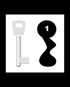 Buntbartschlüssel 8N (BKS) Nr. 1 (Abbildung von der Ringseite aus gesehen)