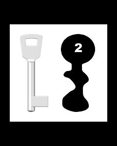 Buntbartschlüssel 8N (BKS) Nr. 2 (Abbildung von der Ringseite aus gesehen)