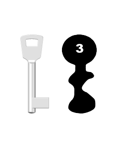 Buntbartschlüssel 8N (BKS) Nr. 3 (Abbildung von der Ringseite aus gesehen)
