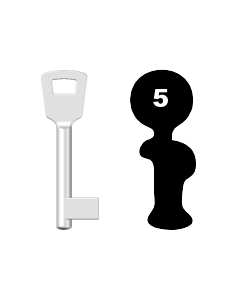 Buntbartschlüssel 8N (BKS) Nr. 5 (Abbildung von der Ringseite aus gesehen)