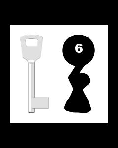 Buntbartschlüssel 8N (BKS) Nr. 6 (Abbildung von der Ringseite aus gesehen)