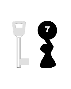 Buntbartschlüssel 8N (BKS) Nr. 7 (Abbildung von der Ringseite aus gesehen)