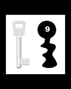 Buntbartschlüssel 8N (BKS) Nr. 9 (Abbildung von der Ringseite aus gesehen)