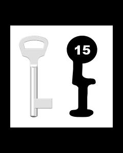 Buntbartschlüssel BKS Nr. 15 (Abbildung von der Ringseite aus gesehen)