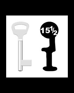 Buntbartschlüssel BKS Nr. 15½ (Abbildung von der Ringseite aus gesehen)