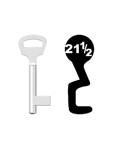 Buntbartschlüssel BKS Nr. 21½ (Abbildung von der Ringseite aus gesehen)