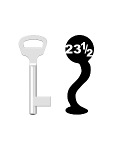 Buntbartschlüssel BKS Nr. 23½ (Abbildung von der Ringseite aus gesehen)