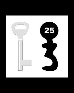 Buntbartschlüssel BKS Nr. 25 (Abbildung von der Ringseite aus gesehen)