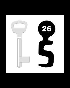 Buntbartschlüssel BKS Nr. 26 (Abbildung von der Ringseite aus gesehen)