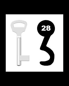 Buntbartschlüssel BKS Nr. 28 (Abbildung von der Ringseite aus gesehen)