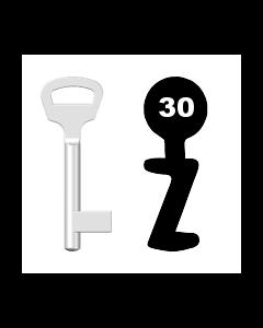 Buntbartschlüssel BKS Nr. 30 (Abbildung von der Ringseite aus gesehen)