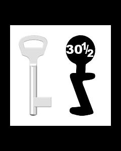 Buntbartschlüssel BKS Nr. 30½ (Abbildung von der Ringseite aus gesehen)