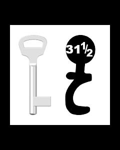Buntbartschlüssel BKS Nr. 31½ (Abbildung von der Ringseite aus gesehen)