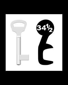 Buntbartschlüssel BKS Nr. 34½ (Abbildung von der Ringseite aus gesehen)