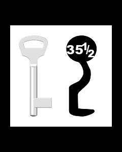 Buntbartschlüssel BKS Nr. 35½ (Abbildung von der Ringseite aus gesehen)