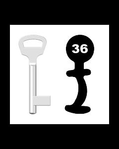 Buntbartschlüssel BKS Nr. 36 (Abbildung von der Ringseite aus gesehen)