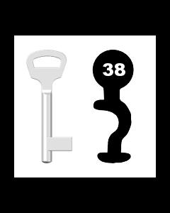 Buntbartschlüssel BKS Nr. 38 (Abbildung von der Ringseite aus gesehen)