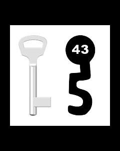 Buntbartschlüssel BKS Nr. 43 (Abbildung von der Ringseite aus gesehen)