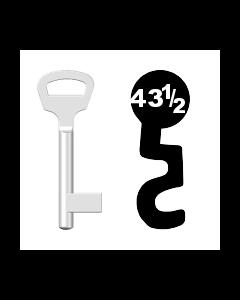 Buntbartschlüssel BKS Nr. 43½ (Abbildung von der Ringseite aus gesehen)