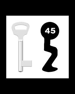 Buntbartschlüssel BKS Nr. 45 (Abbildung von der Ringseite aus gesehen)
