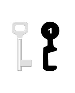 Buntbartschlüssel Dörrenhaus Nr. 1 (Abbildung von der Ringseite aus gesehen)