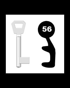Buntbartschlüssel KFV Nr. 56 (Abbildung von der Ringseite aus gesehen)