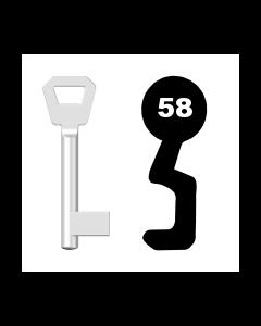 Buntbartschlüssel KFV Nr. 58 (Abbildung von der Ringseite aus gesehen)