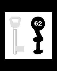 Buntbartschlüssel KFV Nr. 62 (Abbildung von der Ringseite aus gesehen)