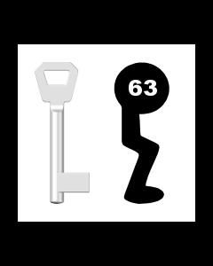 Buntbartschlüssel KFV Nr. 63 (Abbildung von der Ringseite aus gesehen)