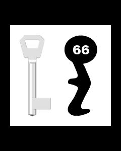 Buntbartschlüssel KFV Nr. 66 (Abbildung von der Ringseite aus gesehen)