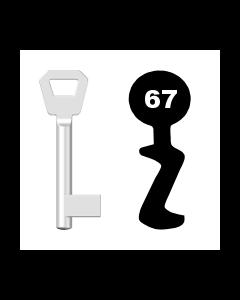 Buntbartschlüssel KFV Nr. 67 (Abbildung von der Ringseite aus gesehen)