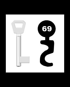 Buntbartschlüssel KFV Nr. 69 (Abbildung von der Ringseite aus gesehen)
