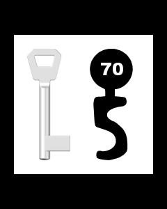 Buntbartschlüssel KFV Nr. 70 (Abbildung von der Ringseite aus gesehen)