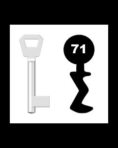 Buntbartschlüssel KFV Nr. 71 (Abbildung von der Ringseite aus gesehen)