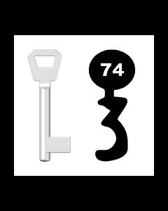 Buntbartschlüssel KFV Nr. 74 (Abbildung von der Ringseite aus gesehen)